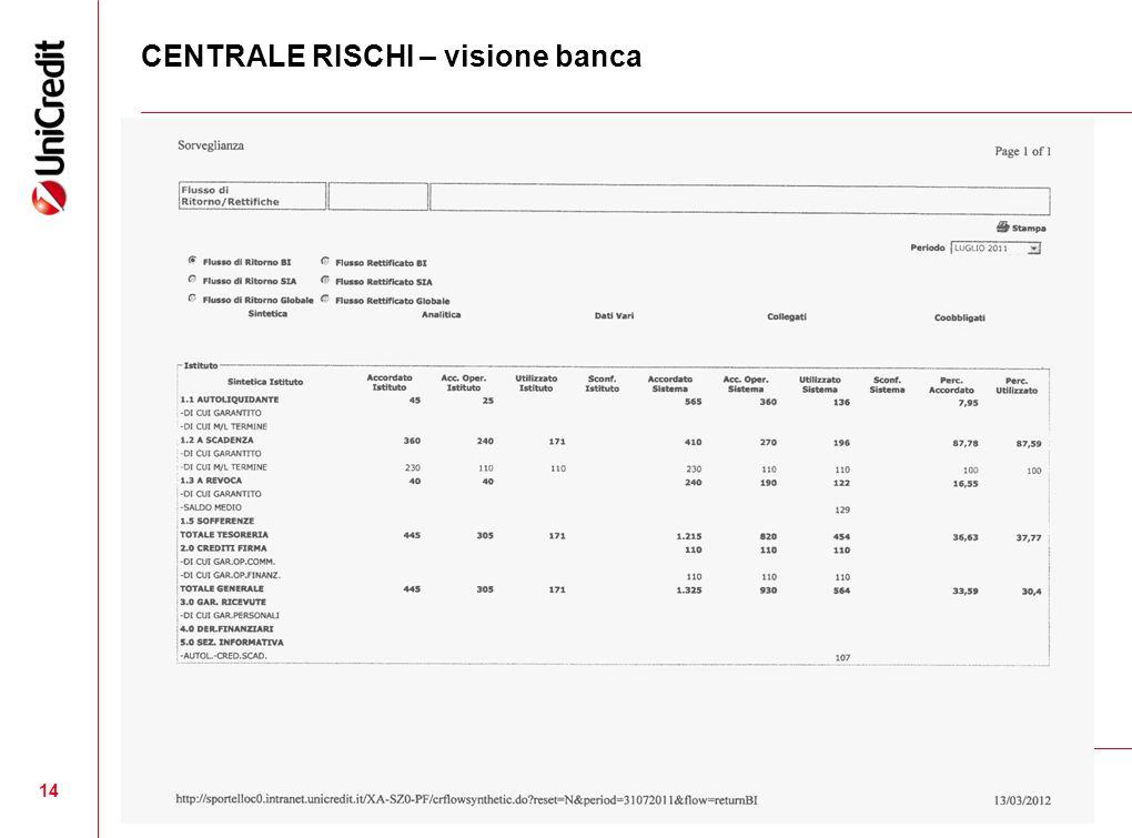 CENTRALE RISCHI – visione banca