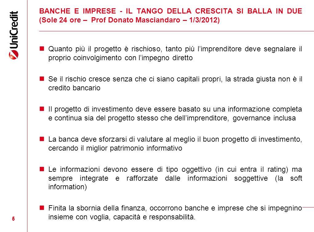 BANCHE E IMPRESE - IL TANGO DELLA CRESCITA SI BALLA IN DUE (Sole 24 ore – Prof Donato Masciandaro – 1/3/2012)