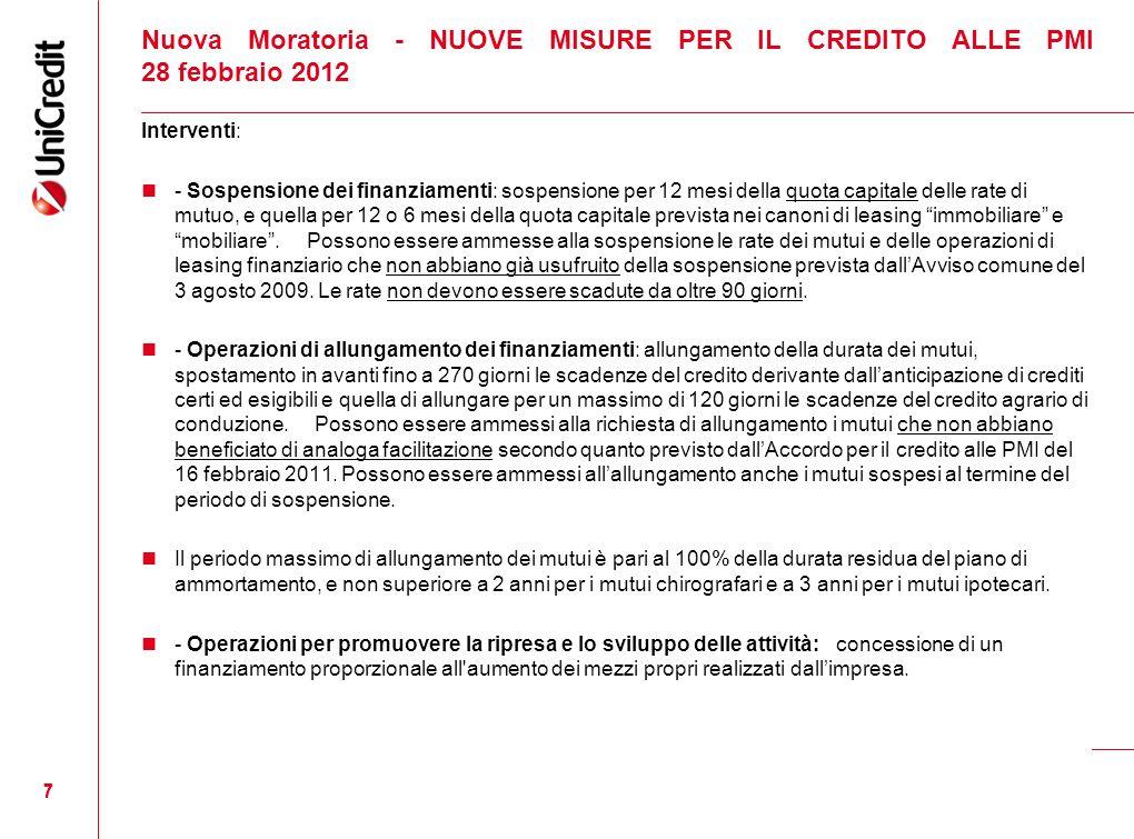 Nuova Moratoria - NUOVE MISURE PER IL CREDITO ALLE PMI 28 febbraio 2012