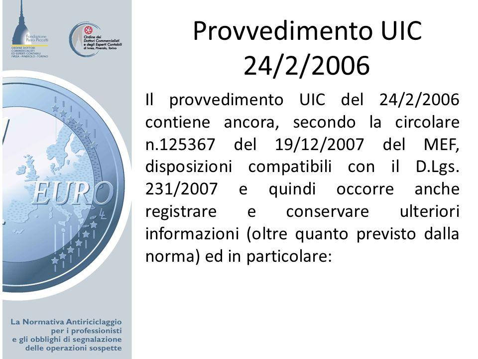 Provvedimento UIC 24/2/2006