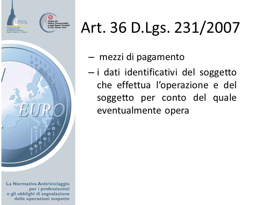 Art. 36 D.Lgs. 231/2007 mezzi di pagamento
