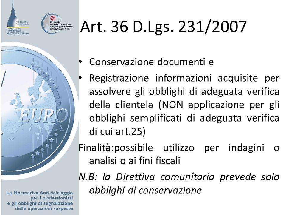 Art. 36 D.Lgs. 231/2007 Conservazione documenti e