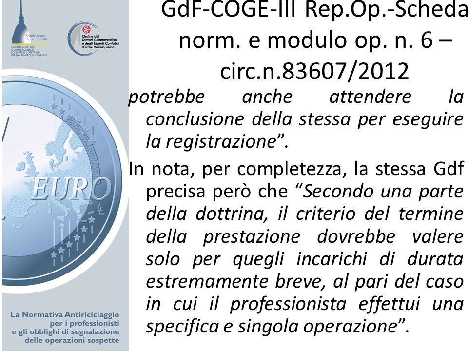GdF-COGE-III Rep. Op. -Scheda norm. e modulo op. n. 6 – circ. n