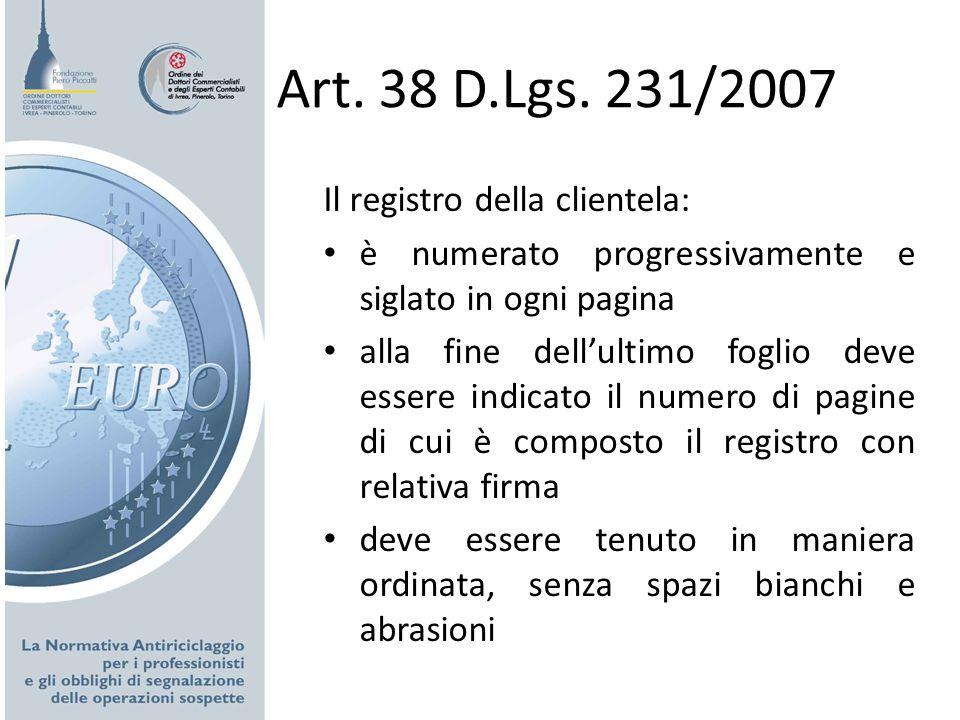 Art. 38 D.Lgs. 231/2007 Il registro della clientela: