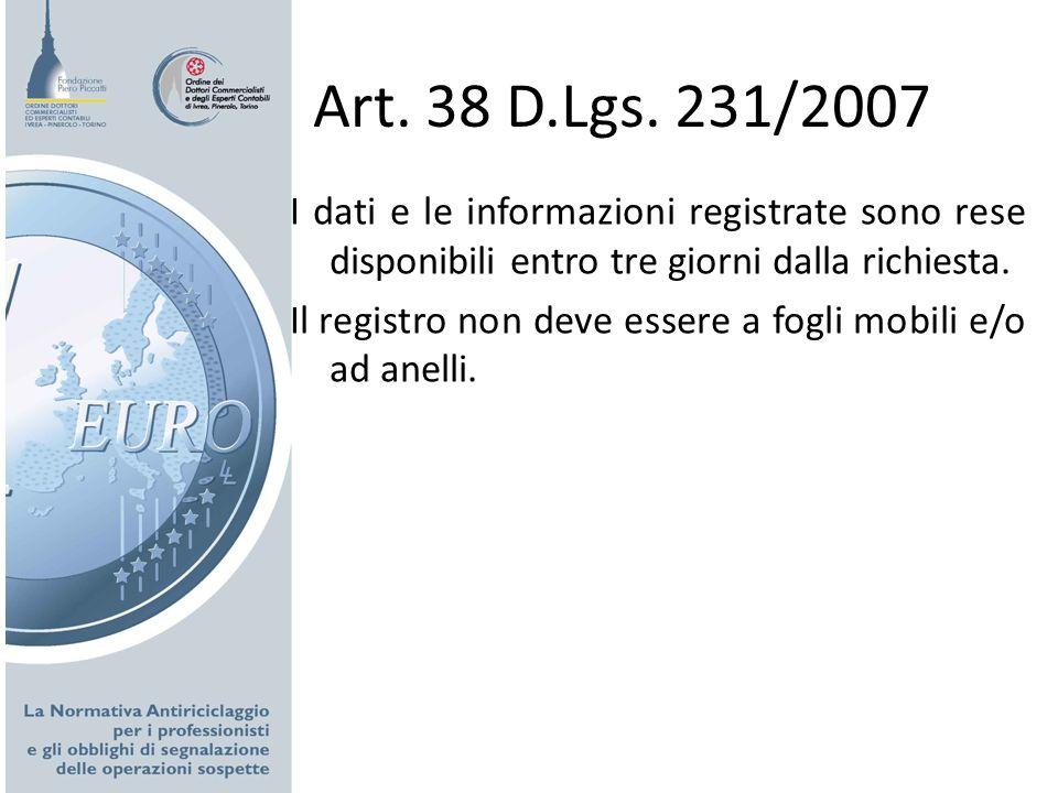 Art. 38 D.Lgs. 231/2007 I dati e le informazioni registrate sono rese disponibili entro tre giorni dalla richiesta.