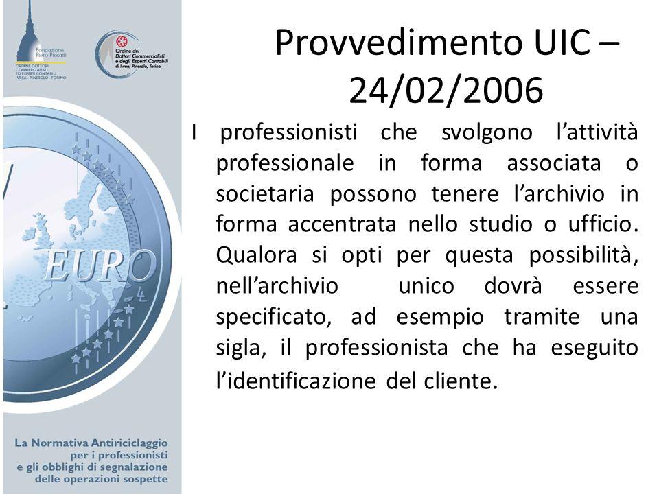 Provvedimento UIC – 24/02/2006
