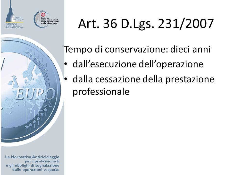 Art. 36 D.Lgs. 231/2007 Tempo di conservazione: dieci anni
