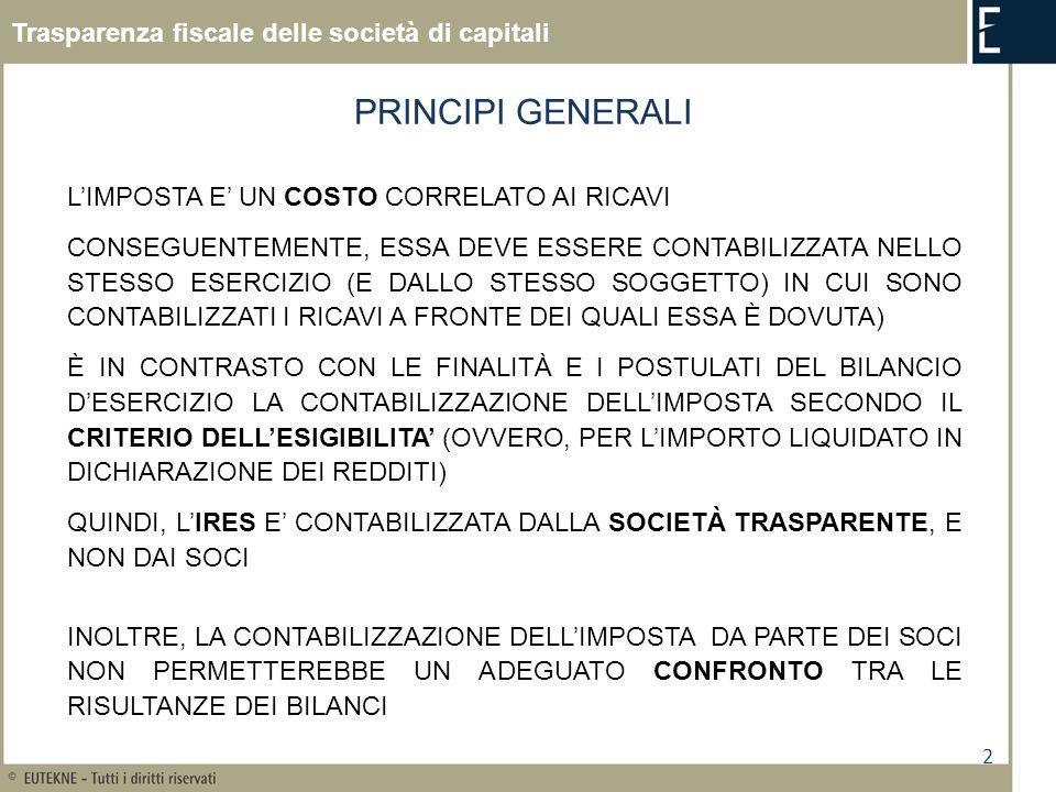 PRINCIPI GENERALI Trasparenza fiscale delle società di capitali