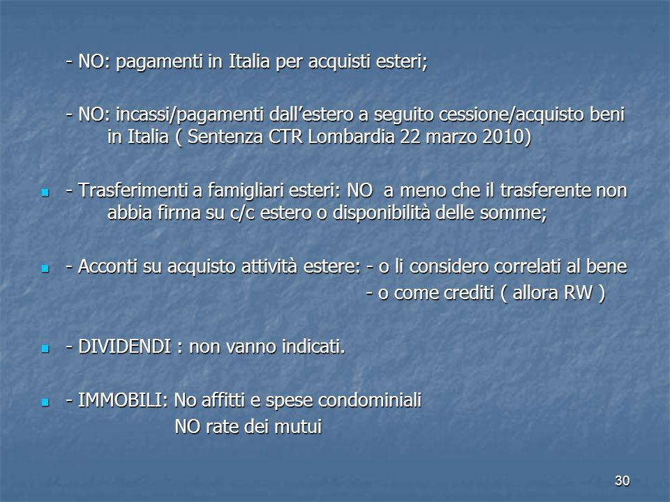 - NO: pagamenti in Italia per acquisti esteri;