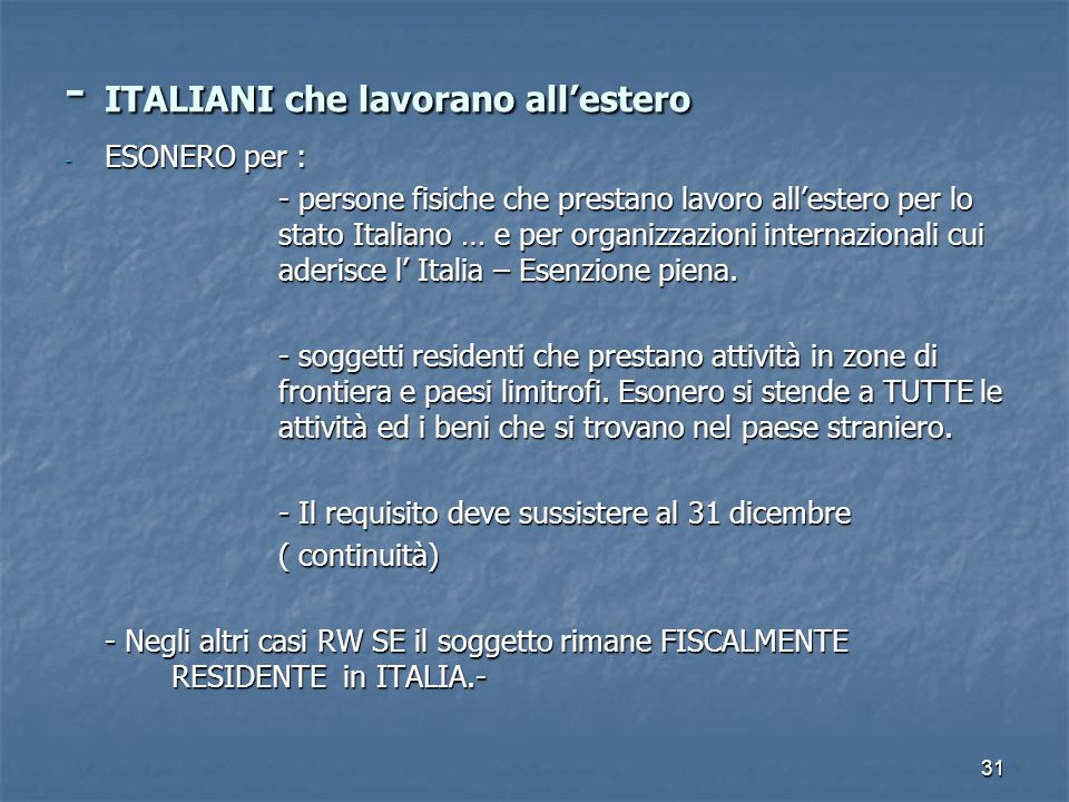 - ITALIANI che lavorano all'estero