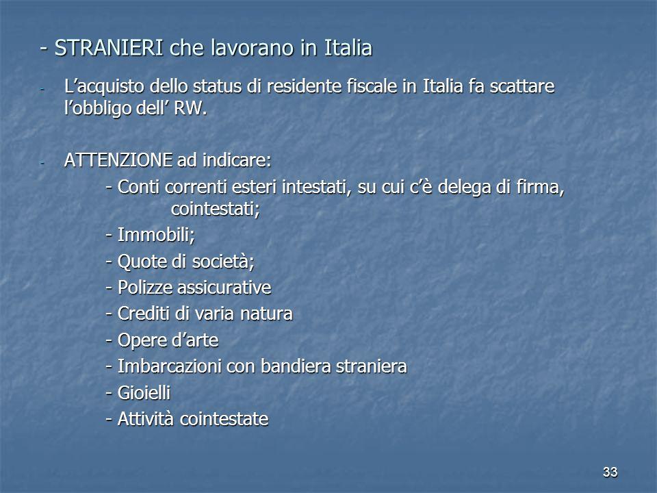 - STRANIERI che lavorano in Italia