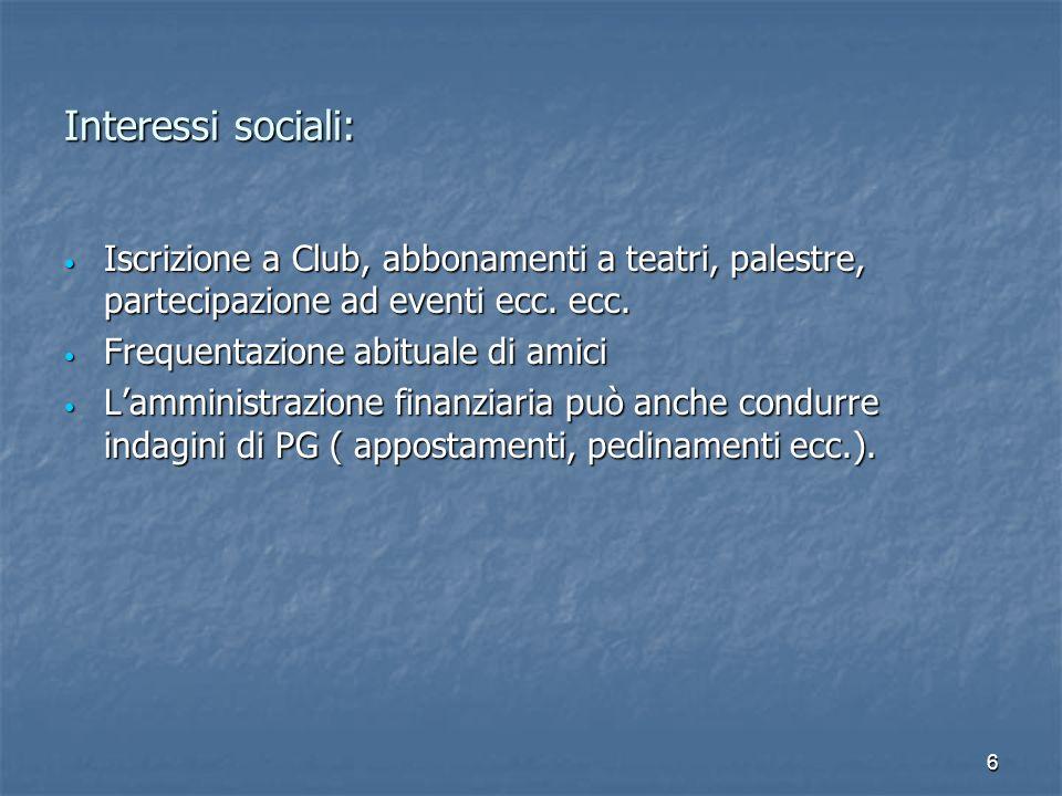 Interessi sociali: Iscrizione a Club, abbonamenti a teatri, palestre, partecipazione ad eventi ecc. ecc.