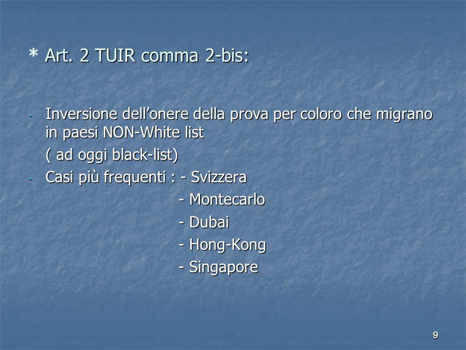 * Art. 2 TUIR comma 2-bis: Inversione dell'onere della prova per coloro che migrano in paesi NON-White list.