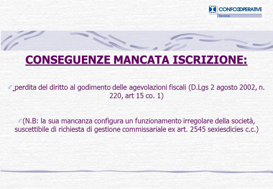 CONSEGUENZE MANCATA ISCRIZIONE: