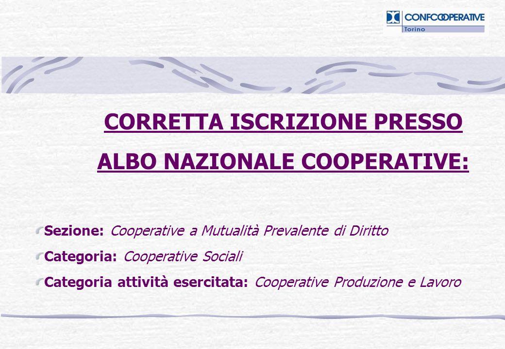 CORRETTA ISCRIZIONE PRESSO ALBO NAZIONALE COOPERATIVE: