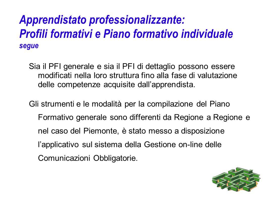Apprendistato professionalizzante: Profili formativi e Piano formativo individuale segue