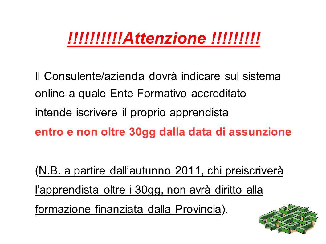 !!!!!!!!!!Attenzione !!!!!!!!!Il Consulente/azienda dovrà indicare sul sistema. online a quale Ente Formativo accreditato.