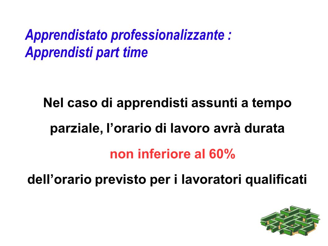 Apprendistato professionalizzante : Apprendisti part time