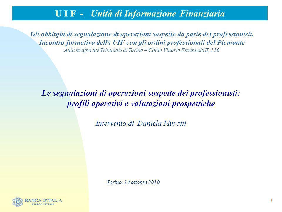 U I F - Unità di Informazione Finanziaria