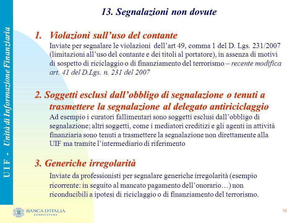 13. Segnalazioni non dovute U I F - Unità di Informazione Finanziaria