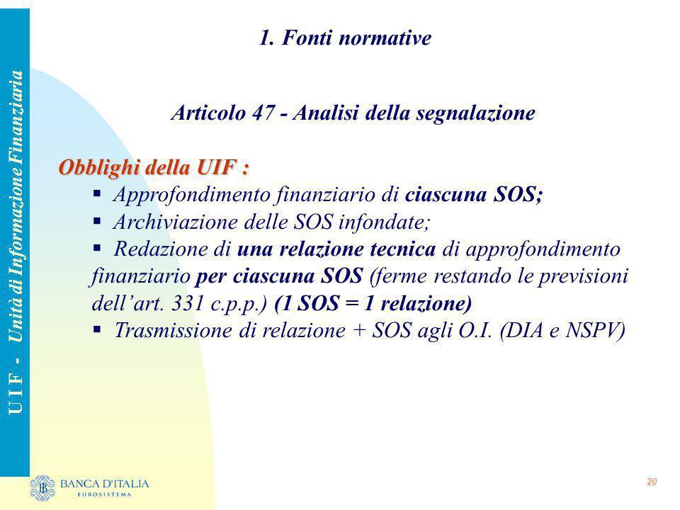 1. Fonti normative Articolo 47 - Analisi della segnalazione