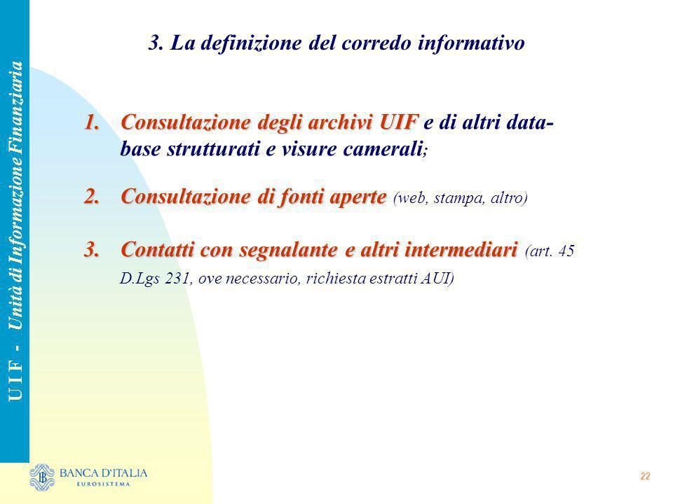3. La definizione del corredo informativo