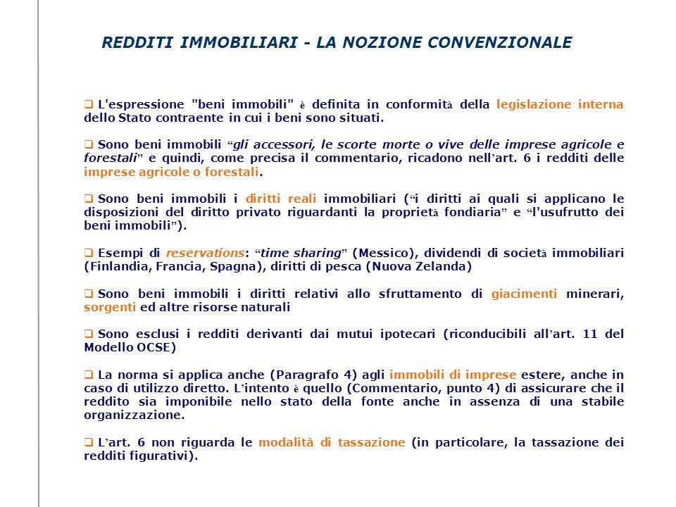 REDDITI IMMOBILIARI - LA NOZIONE CONVENZIONALE