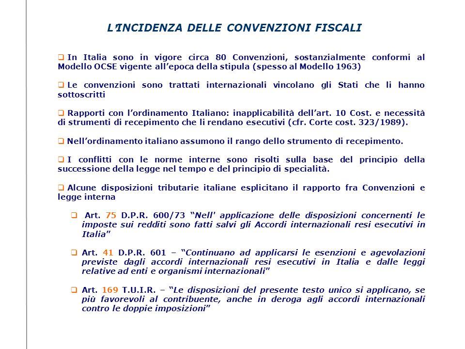 L'INCIDENZA DELLE CONVENZIONI FISCALI