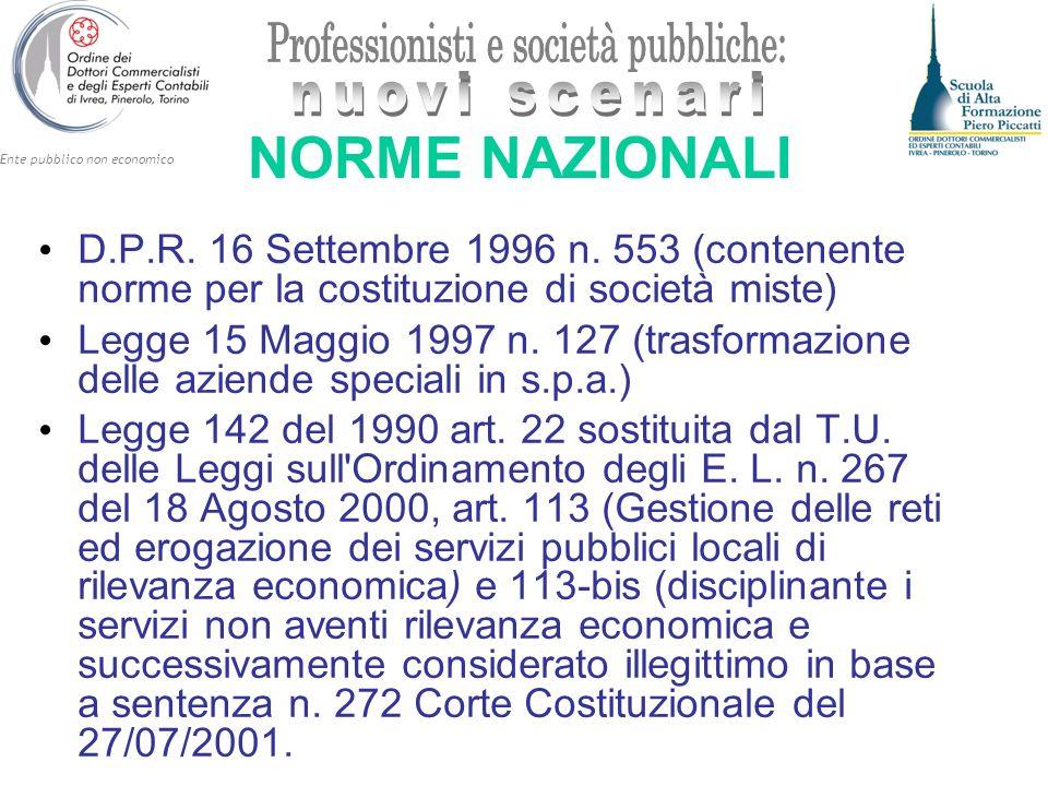 NORME NAZIONALI D.P.R. 16 Settembre 1996 n. 553 (contenente norme per la costituzione di società miste)