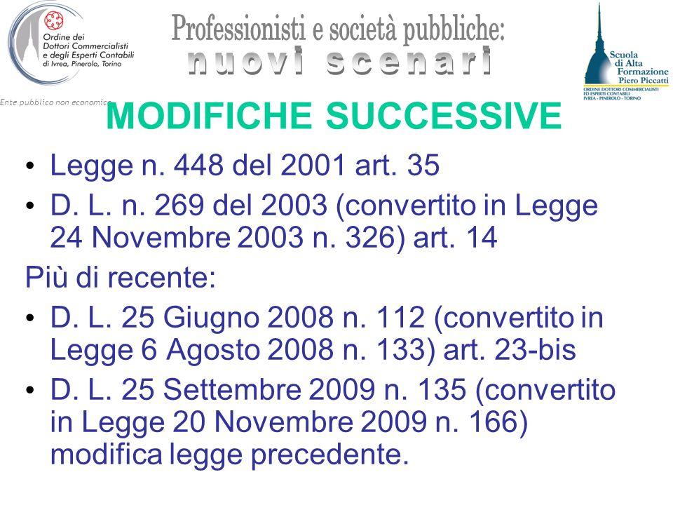 MODIFICHE SUCCESSIVE Legge n. 448 del 2001 art. 35