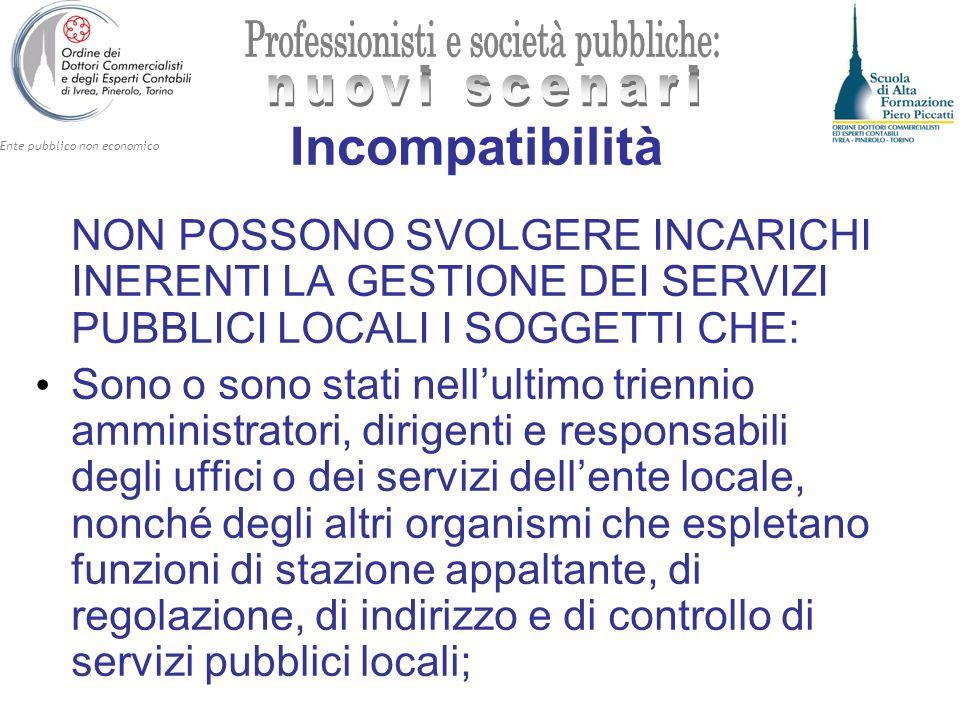 IncompatibilitàNON POSSONO SVOLGERE INCARICHI INERENTI LA GESTIONE DEI SERVIZI PUBBLICI LOCALI I SOGGETTI CHE: