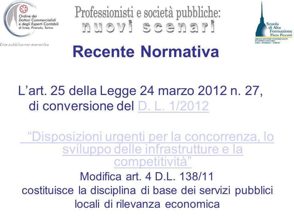 Recente Normativa L'art. 25 della Legge 24 marzo 2012 n. 27,