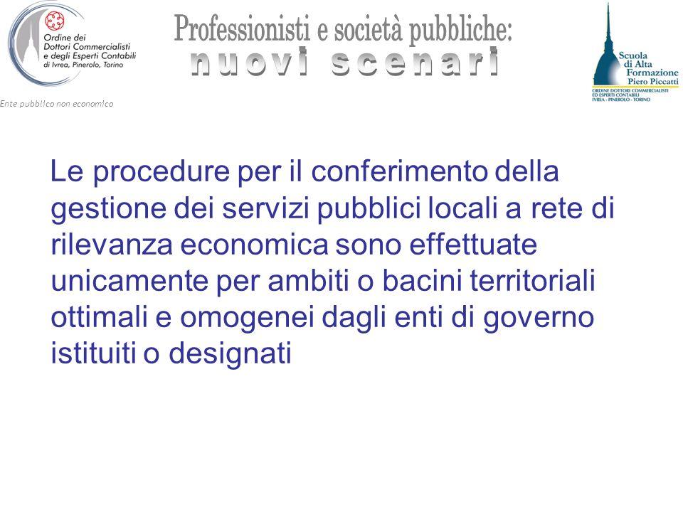 Le procedure per il conferimento della gestione dei servizi pubblici locali a rete di rilevanza economica sono effettuate unicamente per ambiti o bacini territoriali ottimali e omogenei dagli enti di governo istituiti o designati
