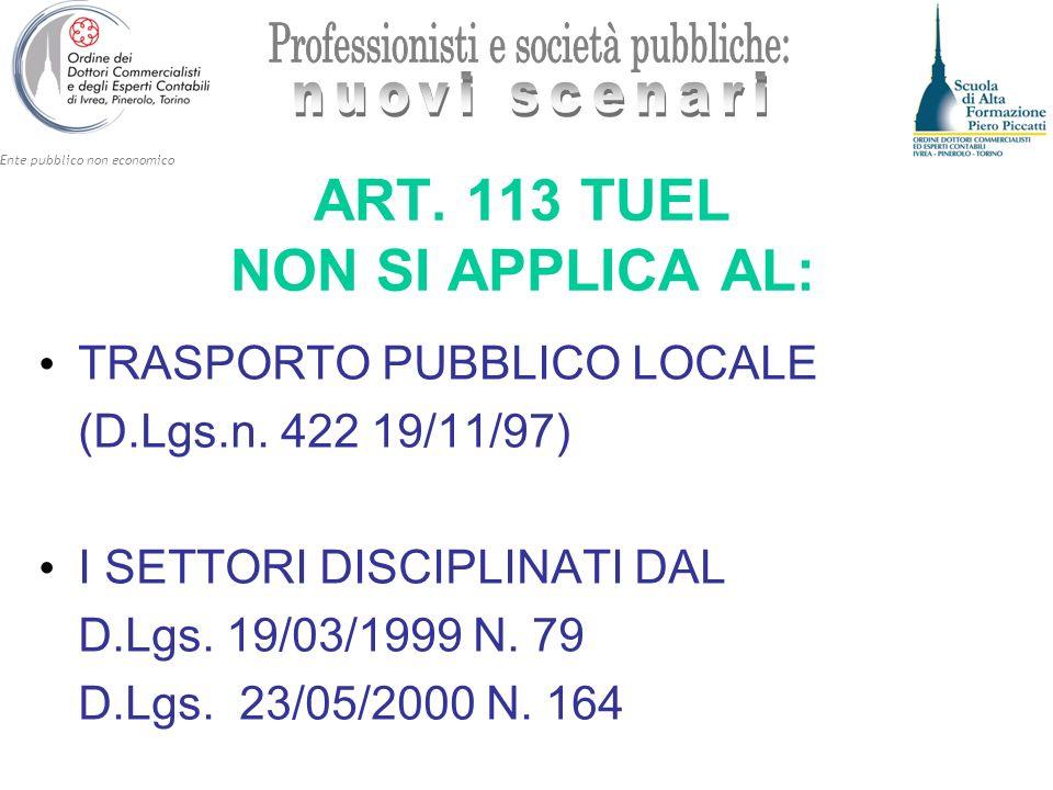 ART. 113 TUEL NON SI APPLICA AL: