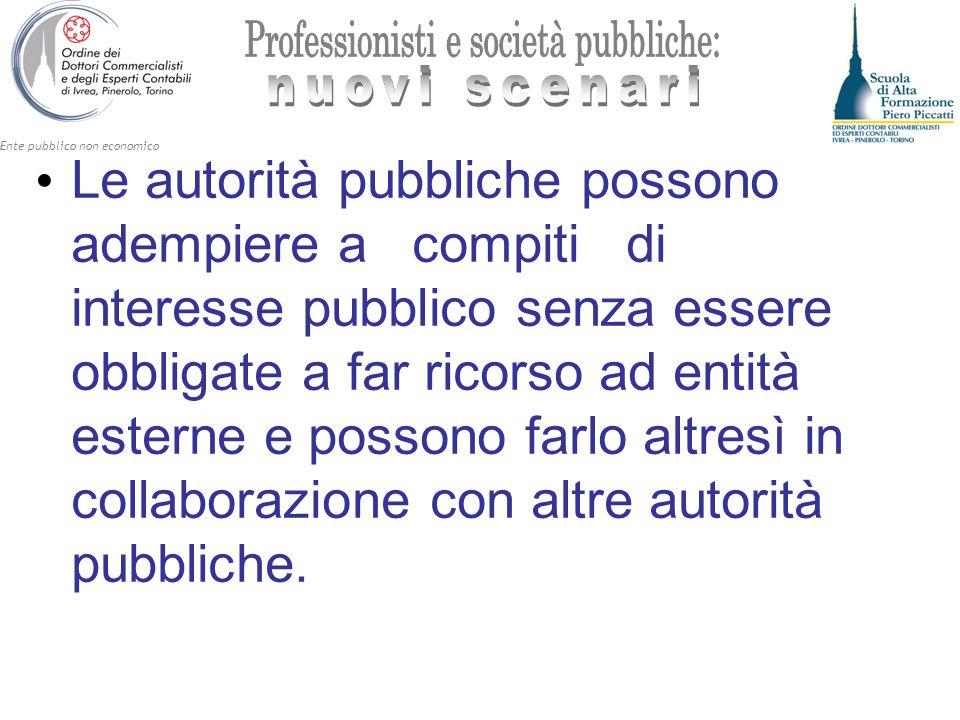 Le autorità pubbliche possono adempiere a compiti di interesse pubblico senza essere obbligate a far ricorso ad entità esterne e possono farlo altresì in collaborazione con altre autorità pubbliche.