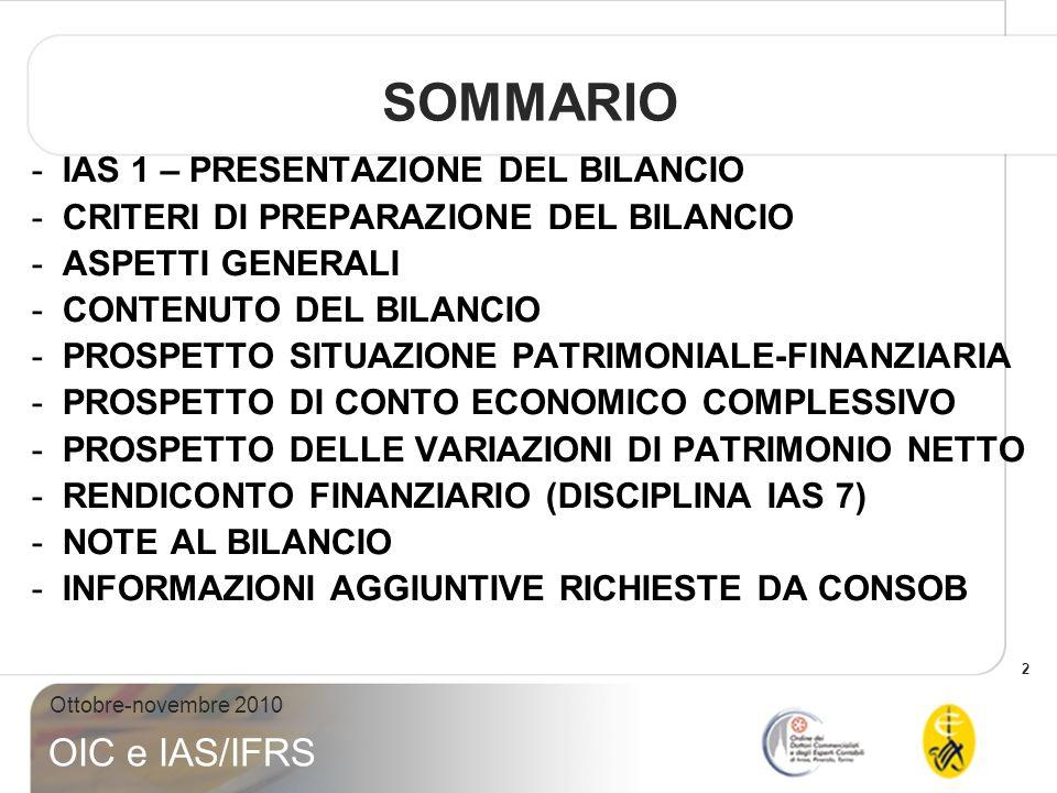 SOMMARIO IAS 1 – PRESENTAZIONE DEL BILANCIO