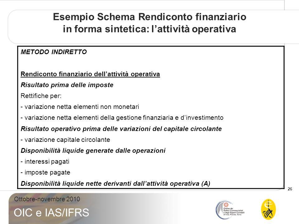 Esempio Schema Rendiconto finanziario in forma sintetica: l'attività operativa