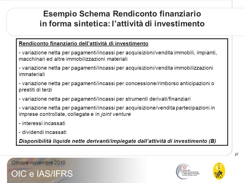 Esempio Schema Rendiconto finanziario in forma sintetica: l'attività di investimento