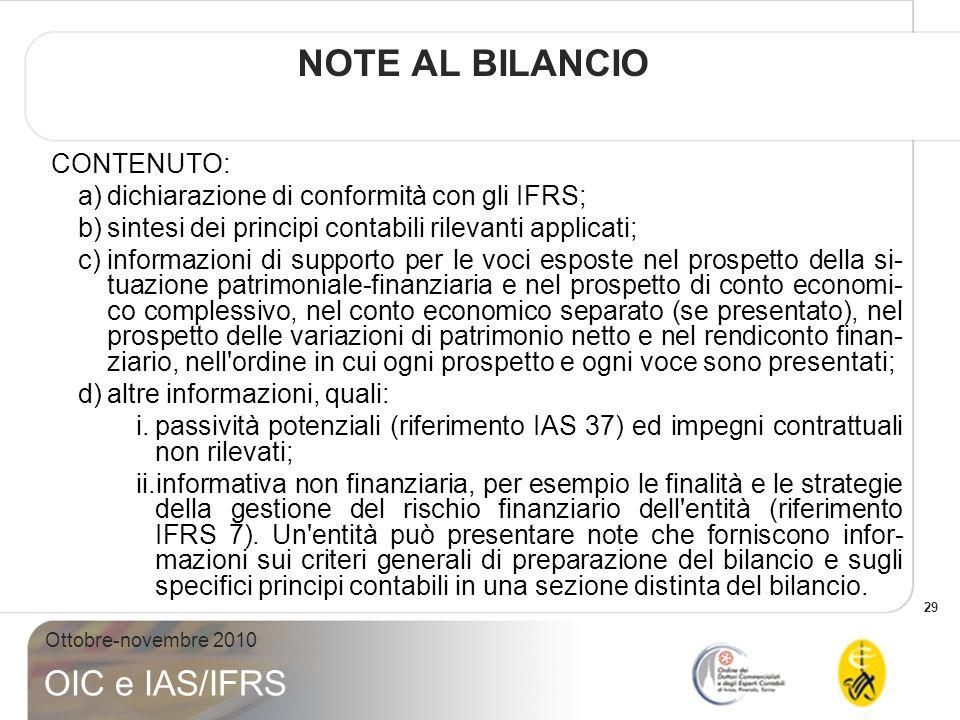 NOTE AL BILANCIO CONTENUTO: dichiarazione di conformità con gli IFRS;