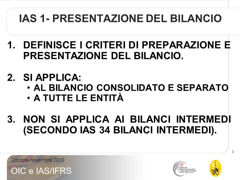 IAS 1- PRESENTAZIONE DEL BILANCIO