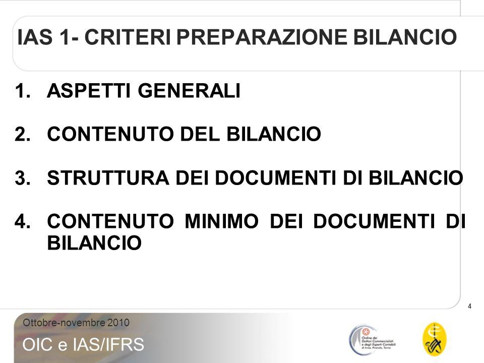 IAS 1- CRITERI PREPARAZIONE BILANCIO
