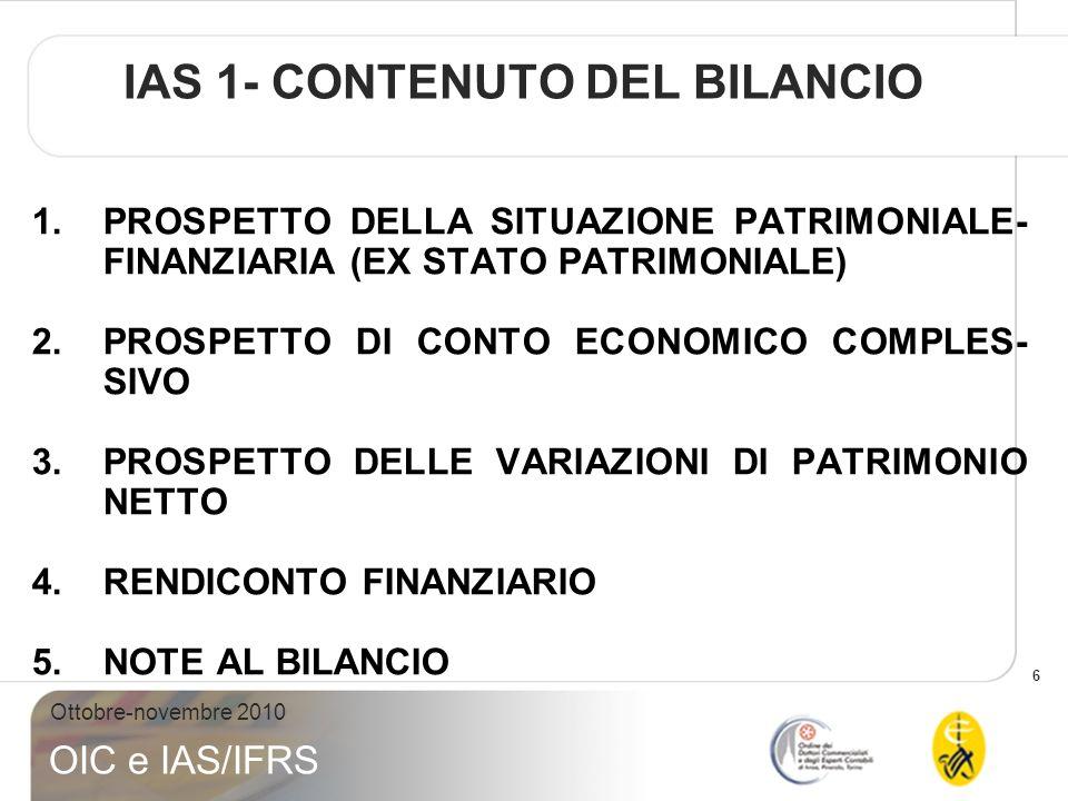IAS 1- CONTENUTO DEL BILANCIO