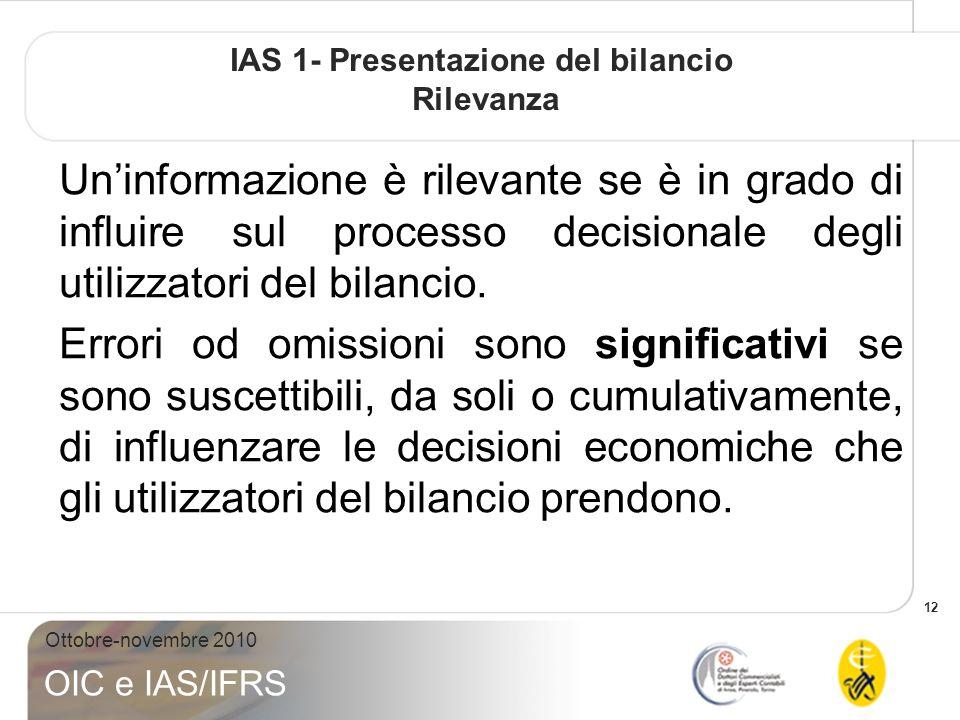 IAS 1- Presentazione del bilancio Rilevanza