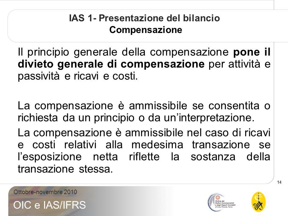 IAS 1- Presentazione del bilancio Compensazione