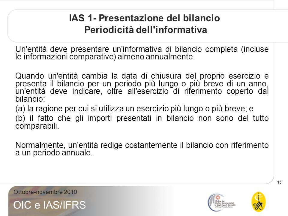 IAS 1- Presentazione del bilancio Periodicità dell informativa