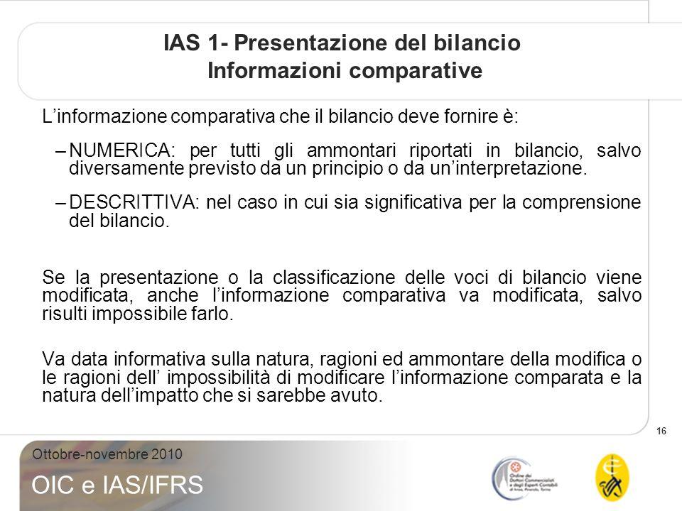 IAS 1- Presentazione del bilancio Informazioni comparative
