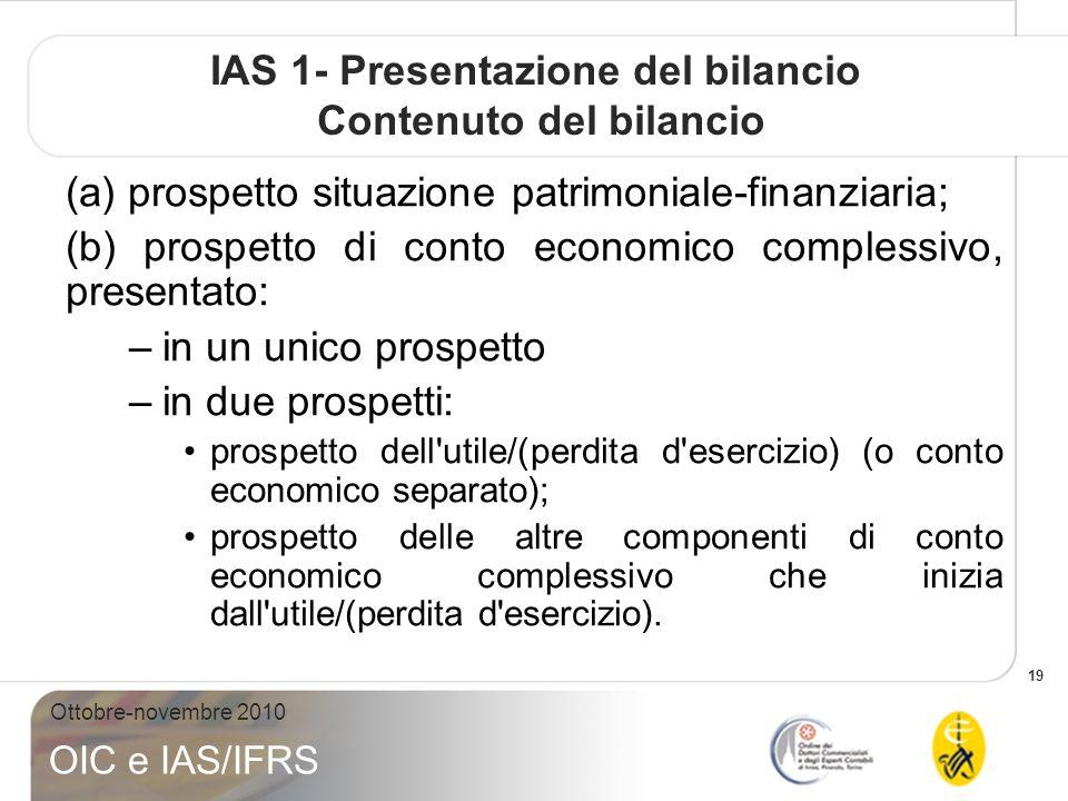 IAS 1- Presentazione del bilancio Contenuto del bilancio