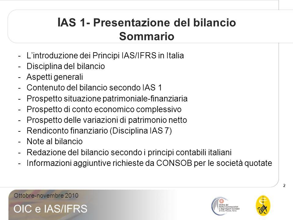 IAS 1- Presentazione del bilancio Sommario