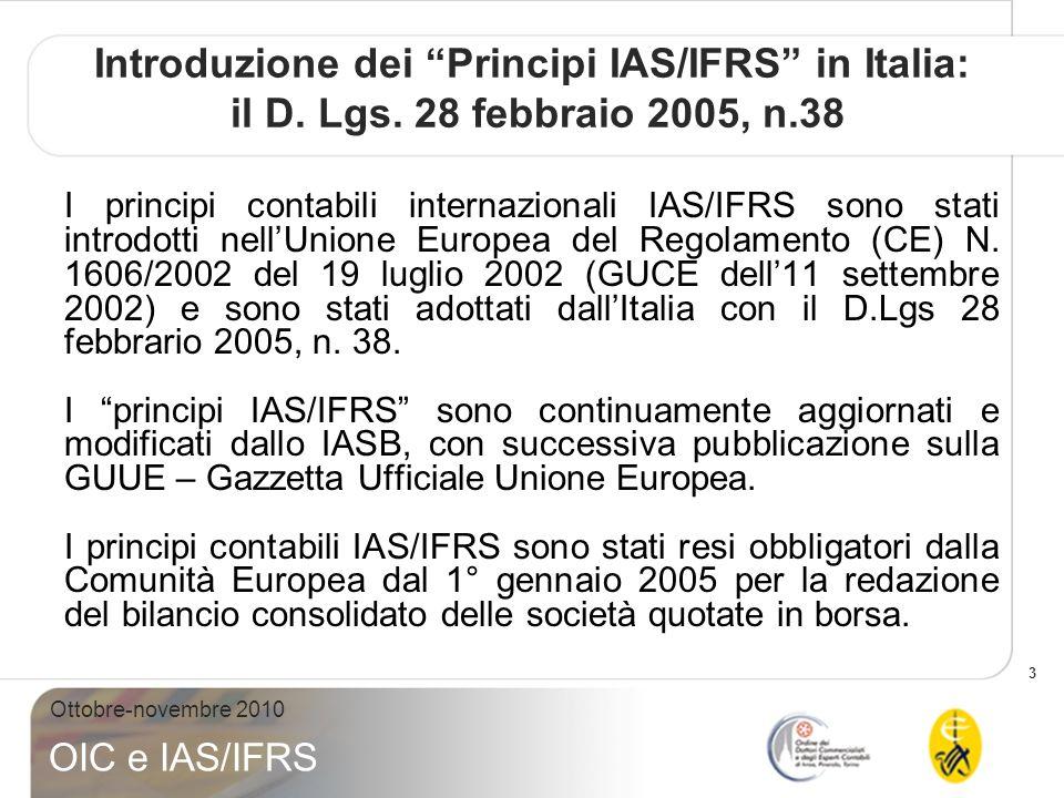 Introduzione dei Principi IAS/IFRS in Italia: il D. Lgs