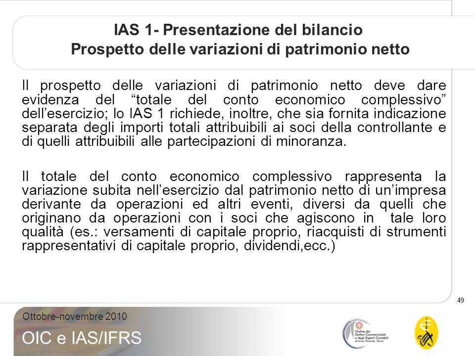 IAS 1- Presentazione del bilancio Prospetto delle variazioni di patrimonio netto